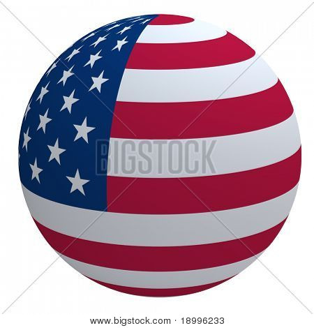 USA flag on the ball isolated on white. Computer generated 3D photo rendering.