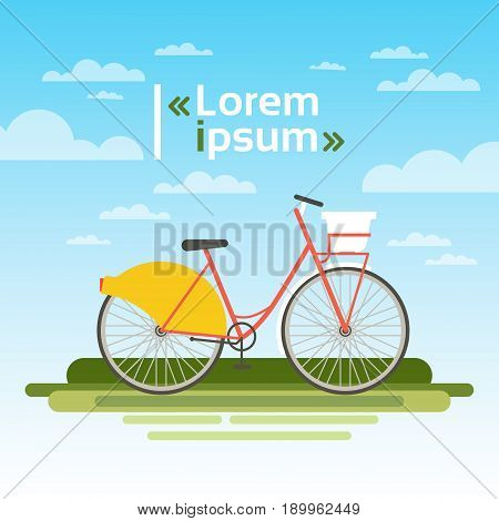 Bicycle Outdoors On Green Grass Over Blue Sky No People Ecological Clean Transport Concept Flat Vector Illustration