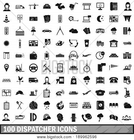 100 dispatcher icons set in simple style for any design vector illustration