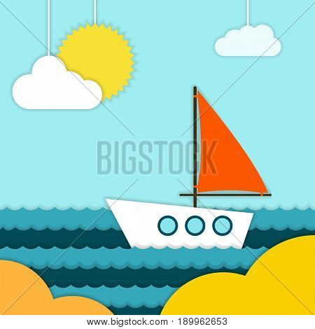 Boat on beach Vector illustration A boat with a red sail is swiming near the seashore on a sunny day Paper art
