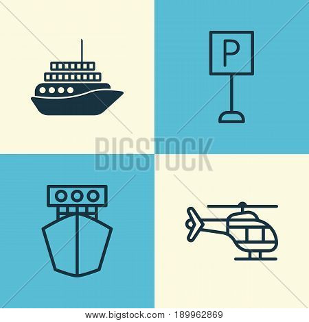 Transport Icons Set. Collection Of Cruise, Roadsign, Flight Vehicle And Other Elements. Also Includes Symbols Such As Roadsign, Airplane, Cruise.
