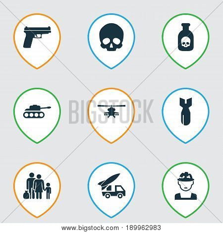 Army Icons Set. Collection Of Danger, Rocket, Military And Other Elements. Also Includes Symbols Such As Fugitive, Poison, People.