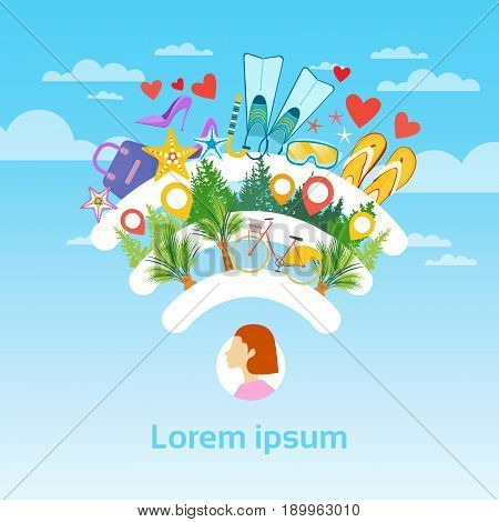 Woman Tourist Destination Summer Sea Vacation Tourism Concept Flat Vector Illustration