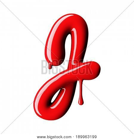 Glossy red letter J uppercase. 3D rendering font with glint isolated on white background.