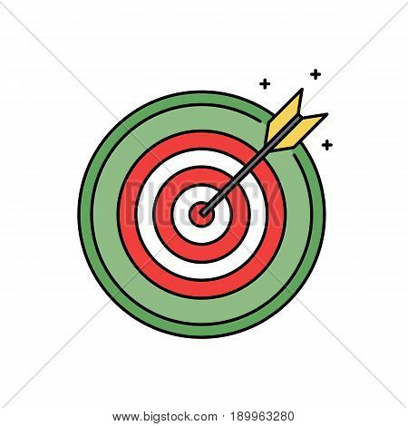 Dartboard with bullseye retro circle icon, success and goal achieving concept vector