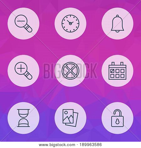 Internet Icons Set. Collection Of Increase Loup, Unlock, Alert And Other Elements. Also Includes Symbols Such As Almanac, Time, Rustication.