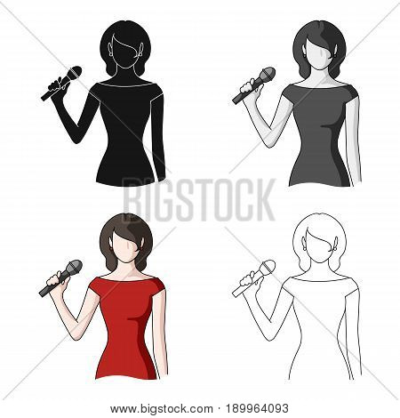 Singer.Professions single icon in cartoon style vector symbol stock illustration .