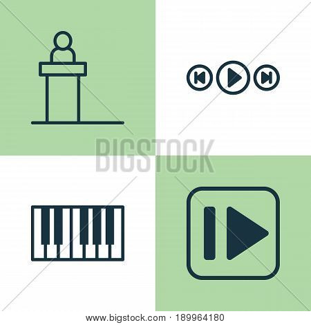 Multimedia Icons Set. Collection Of Following Music, Piano, Rostrum And Other Elements. Also Includes Symbols Such As Media, Rostrum, Instrument.