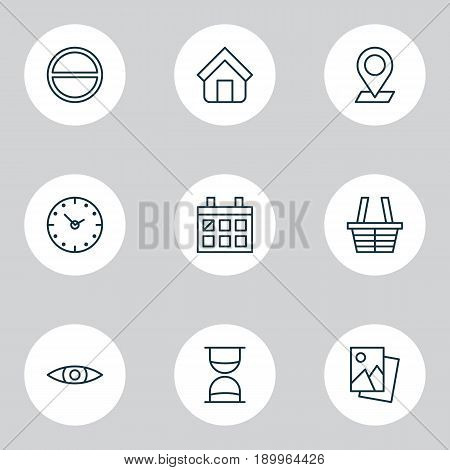 Icons Set. Collection Of Landscape Photo, Glance, Calendar Elements. Also Includes Symbols Such As Calendar, Eye, Shelter.