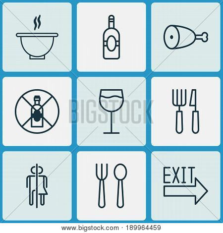 Restaurant Icons Set. Collection Of Eating House, Fried Poultry, No Drinking And Other Elements. Also Includes Symbols Such As Eating, Poultry, Hooch.
