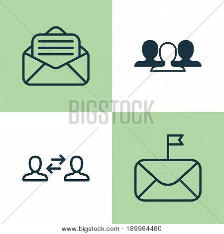Communication Icons Set. Collection Of Group, Read Message, Significant Letter And Other Elements. Also Includes Symbols Such As Mail, Unity, Envelope.