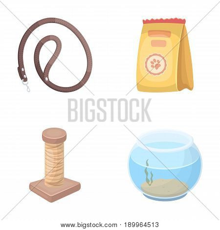Leash, feed and other zoo store products.Pet shop set collection icons in cartoon style vector symbol stock illustration .