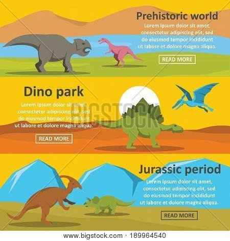 Dinosaur park banner horizontal concept set. Flat illustration of 3 dinosaur park vector banner horizontal concepts for web