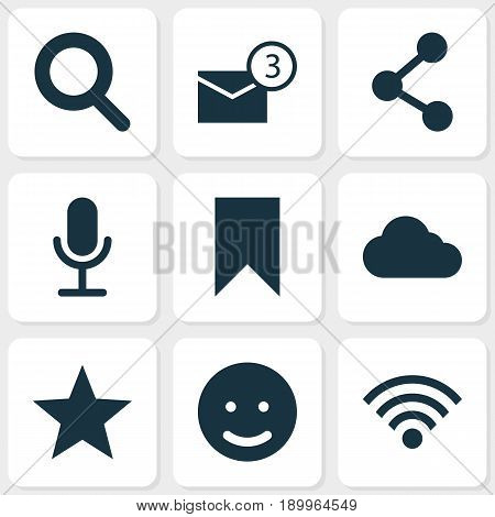 Internet Icons Set. Collection Of Magnifier, Smile, Publish And Other Elements. Also Includes Symbols Such As Wireless, Clouded, Overcast.