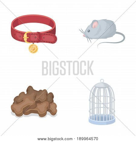 A collar, a forage, a toy, a cage and other products of the zoo store.Pet shop set collection icons in cartoon style vector symbol stock illustration .