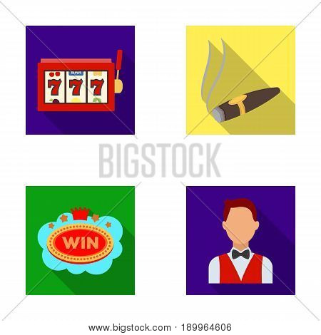 A gaming machine a one-armed bandit, a cigar with smoke, a five-star hotel sign, a dilettante in a vest. Casinos and gambling set collection icons in flat style vector symbol stock illustration .