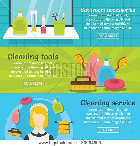 Cleaning hygiene banner horizontal concept set. Flat illustration of 3 cleaning hygiene vector banner horizontal concepts for web