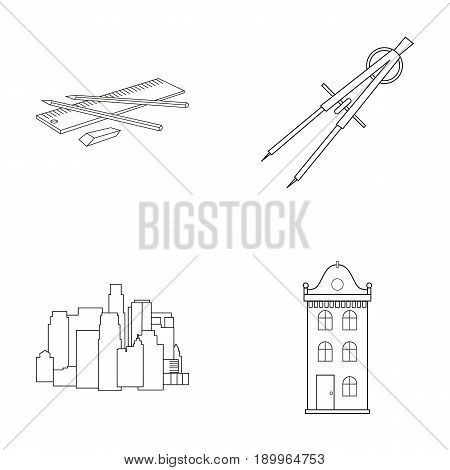 Drawing accessories, metropolis, house model. Architecture set collection icons in outline style vector symbol stock illustration .