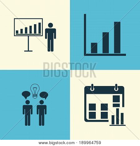 Executive Icons Set. Collection Of Bar Chart, Co-Working, Project Presentation And Other Elements. Also Includes Symbols Such As Brainstorming, Team, Presentation.