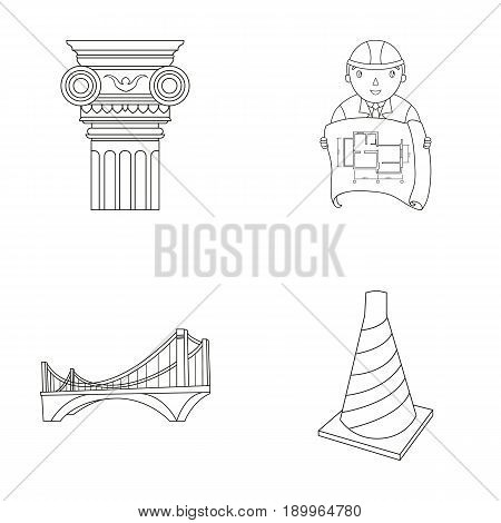 Column, master with drawing, bridge, index cone. Architecture set collection icons in outline style vector symbol stock illustration .