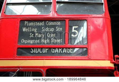 Beaulieu, Hampshire, Uk - May 29 2017:  Front Of The Number 51 Routemaster Bus To Sidcup Garage, On