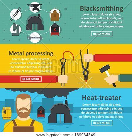 Blacksmith metal banner horizontal concept set. Flat illustration of 3 blacksmith metal vector banner horizontal concepts for web