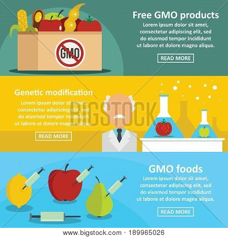 GMO products banner horizontal concept set. Flat illustration of 3 GMO products vector banner horizontal concepts for web