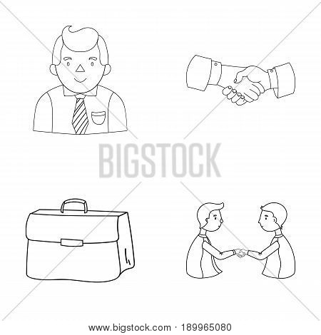 Businessman, handshake, portfolio, agreement.Business-conference and negotiations set collection icons in outline style vector symbol stock illustration .