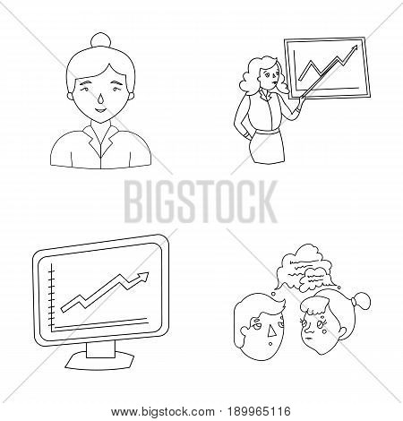 Businesswoman, growth charts, brainstorming.Business-conference and negotiations set collection icons in outline style vector symbol stock illustration .