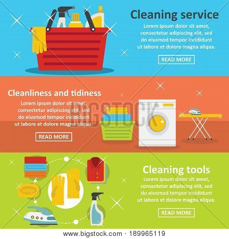 Laundry cleaning banner horizontal concept set. Flat illustration of 3 laundry cleaning vector banner horizontal concepts for web