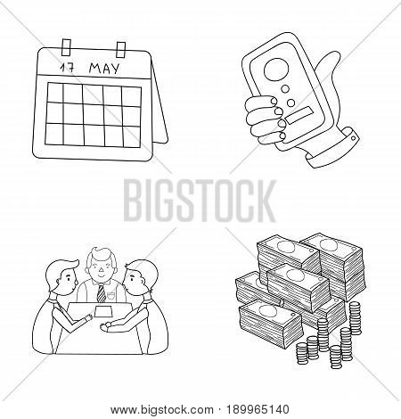 Calendar, telephone conference, agreement, cash.Business-conference and negotiations set collection icons in outline style vector symbol stock illustration .