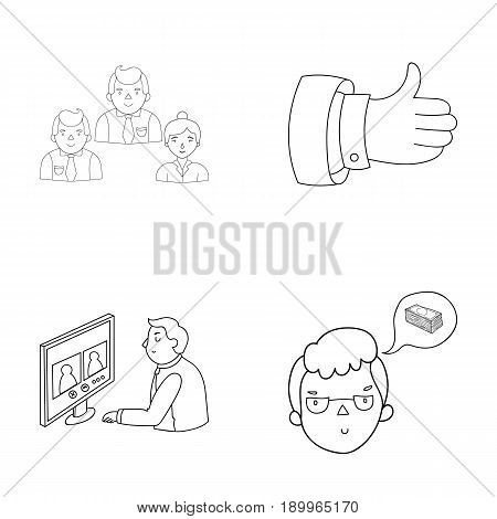 Videoconference, business thoughts, a badge of okay.Bizneskonferentsiya and negotiations set collection icons in outline style vector symbol stock illustration .