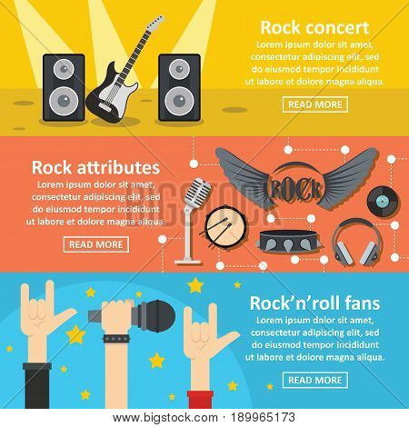 Rock concert banner horizontal concept set. Flat illustration of 3 rock concert vector banner horizontal concepts for web