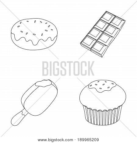 Donut with chocolate, zskimo, shokolpada tile, biscuit.Chocolate desserts set collection icons in outline style vector symbol stock illustration .