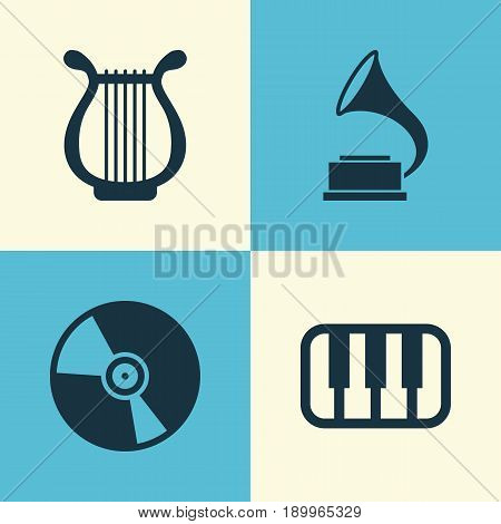 Multimedia Icons Set. Collection Of Cd, Phonograph, Octave And Other Elements. Also Includes Symbols Such As Antique, Gramophone, Cd.