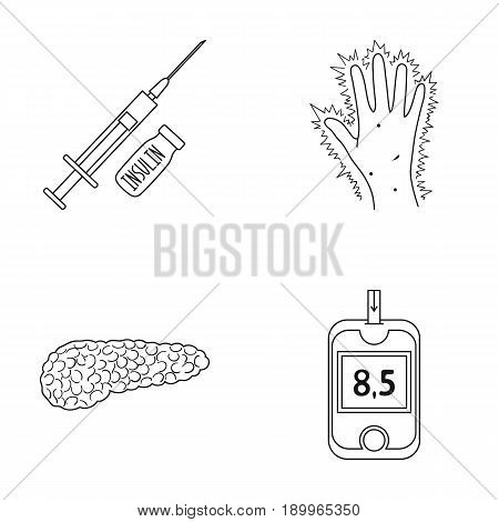 Syringe with insulin, pancreas, glucometer, hand diabetic. Diabet set collection icons in outline style vector symbol stock illustration .