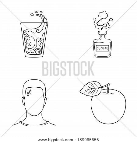 A glass of water, a bottle of alcohol, a sweating man, an apple. Diabeth set collection icons in outline style vector symbol stock illustration .