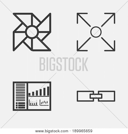 Icons Set. Collection Of Controlling Board, Laptop Ventilator, Branching Program And Other Elements. Also Includes Symbols Such As Branching, Related, Data.