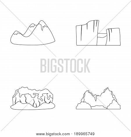 Green mountains with snow tops, a canyon, rocks with forests, a lagoon and rocks. Different mountains set collection icons in outline style vector symbol stock illustration .