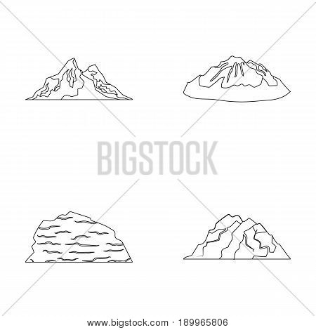 Mountains in the desert, a snowy peak, an island with a glacier, a snow-capped mountain. Different mountains set collection icons in outline style vector symbol stock illustration .