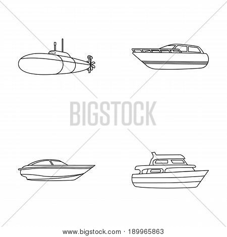A military submarine, a speedboat, a pleasure boat and a spirit boat.Ships and water transport set collection icons in monocrome style vector symbol stock illustration .