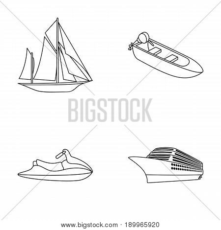 Ancient sailboat, motor boat, scooter, marine liner.Ships and water transport set collection icons in monocrome style vector symbol stock illustration .