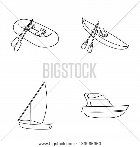 A rubber fishing boat, a kayak with oars, a fishing schooner, a motor yacht.Ships and water transport set collection icons in monocrome style vector symbol stock illustration .