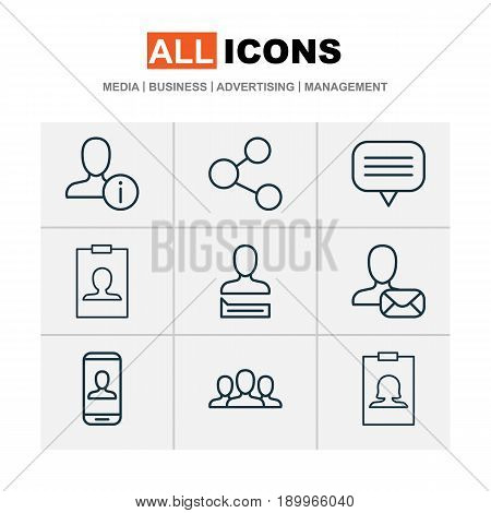 Social Icons Set. Collection Of Privacy Information, Profile Data, Text Bubble And Other Elements. Also Includes Symbols Such As Badge, Human, Clients.