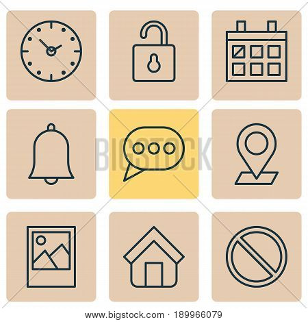 Internet Icons Set. Collection Of Pinpoint, Obstacle, Calendar And Other Elements. Also Includes Symbols Such As Obstacle, Watch, Message.