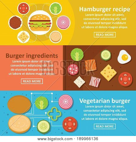 Burger kit banner horizontal concept set. Flat illustration of 3 burger kit vector banner horizontal concepts for web
