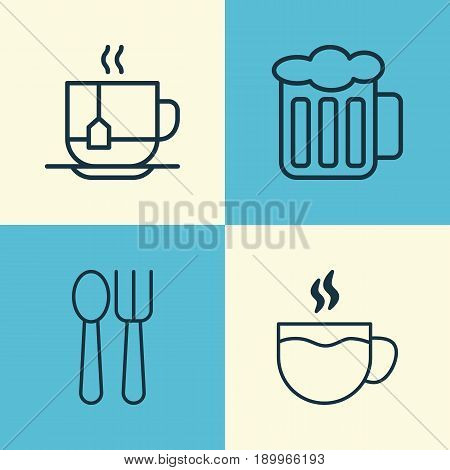 Restaurant Icons Set. Collection Of Ale, Hot Drink, Cutlery And Other Elements. Also Includes Symbols Such As Cutlery, Ale, Fork.
