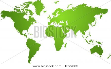 Illustration of a world map in two tone green ideal as a background poster