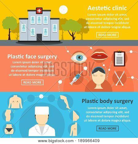 Plastic surgery banner horizontal concept set. Flat illustration of 3 plastic surgery vector banner horizontal concepts for web