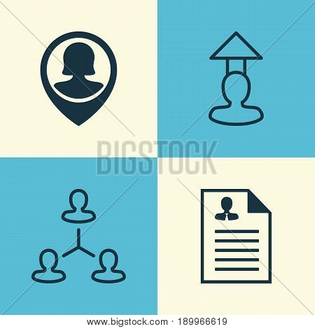 Human Icons Set. Collection Of Destination, Hierarchy, Pin Employee And Other Elements. Also Includes Symbols Such As Destination, Resume, Male.